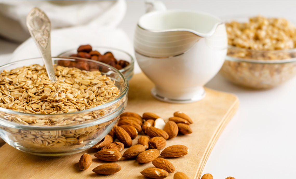 Oats and almonds on a table
